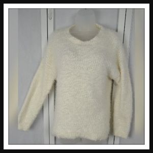 Faded Glory White Fuzzy Sweater